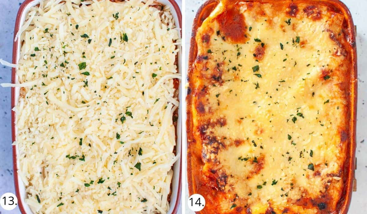 Lasagna in casserole dish before and after baking in oven