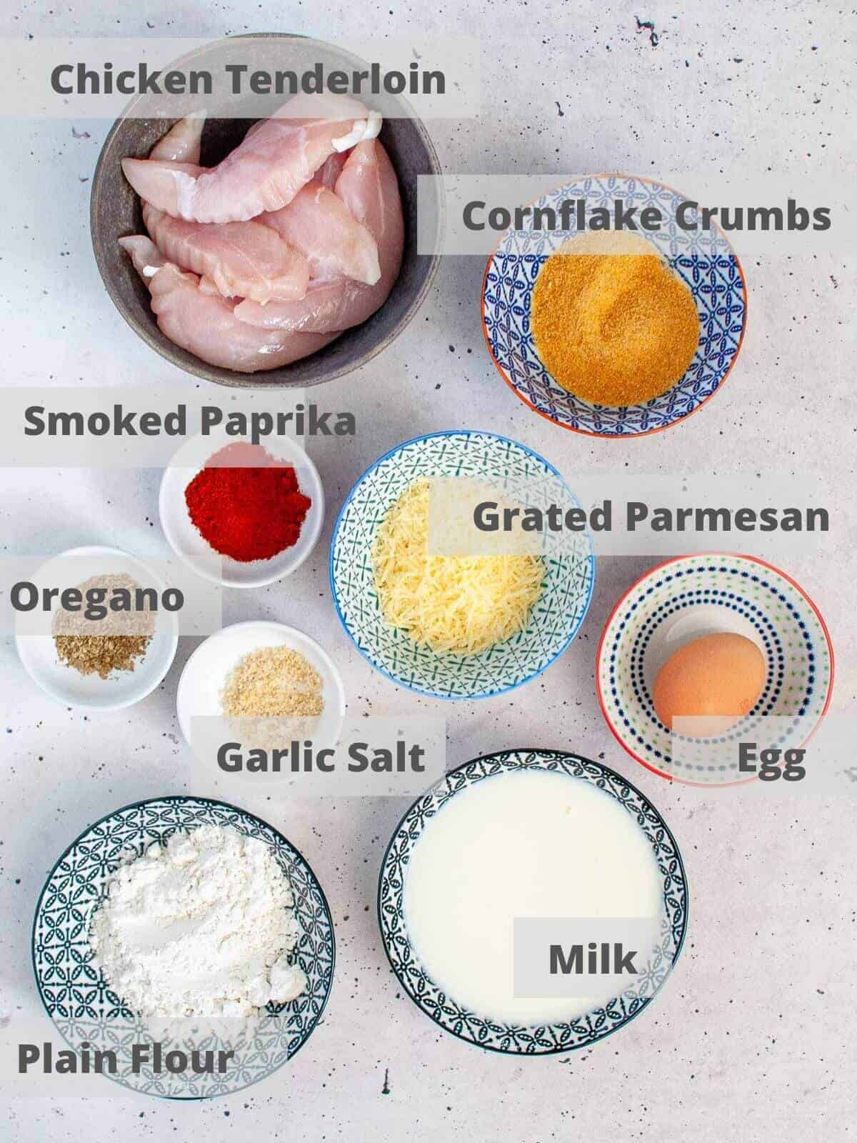 Ingredients needed to make paprika parmesan chicken tenders