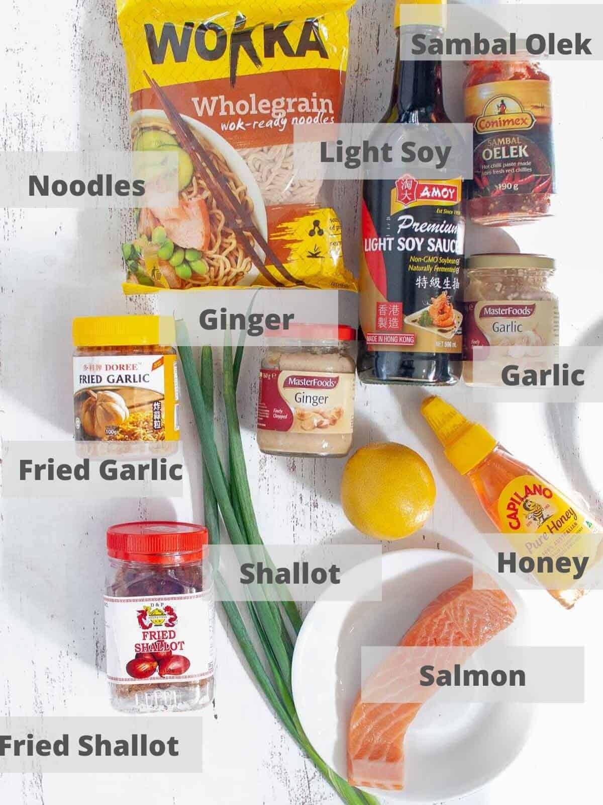 Ingredients for salmon noodles