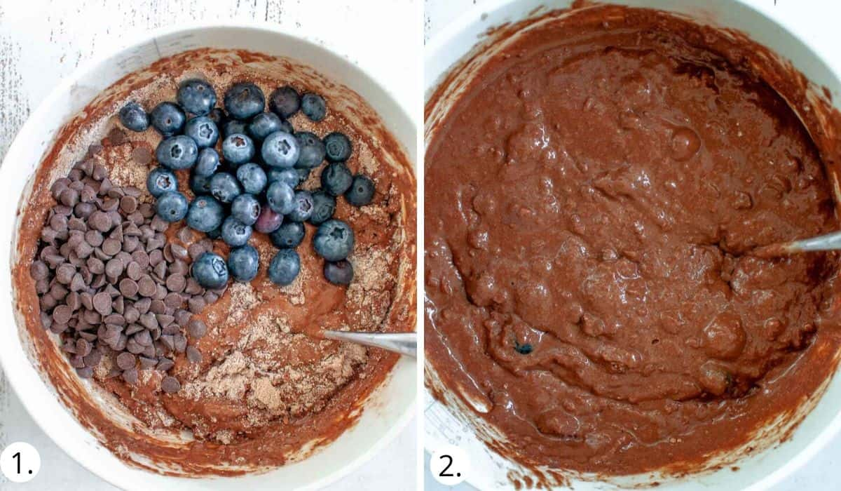 mixing wet and dry ingredients together