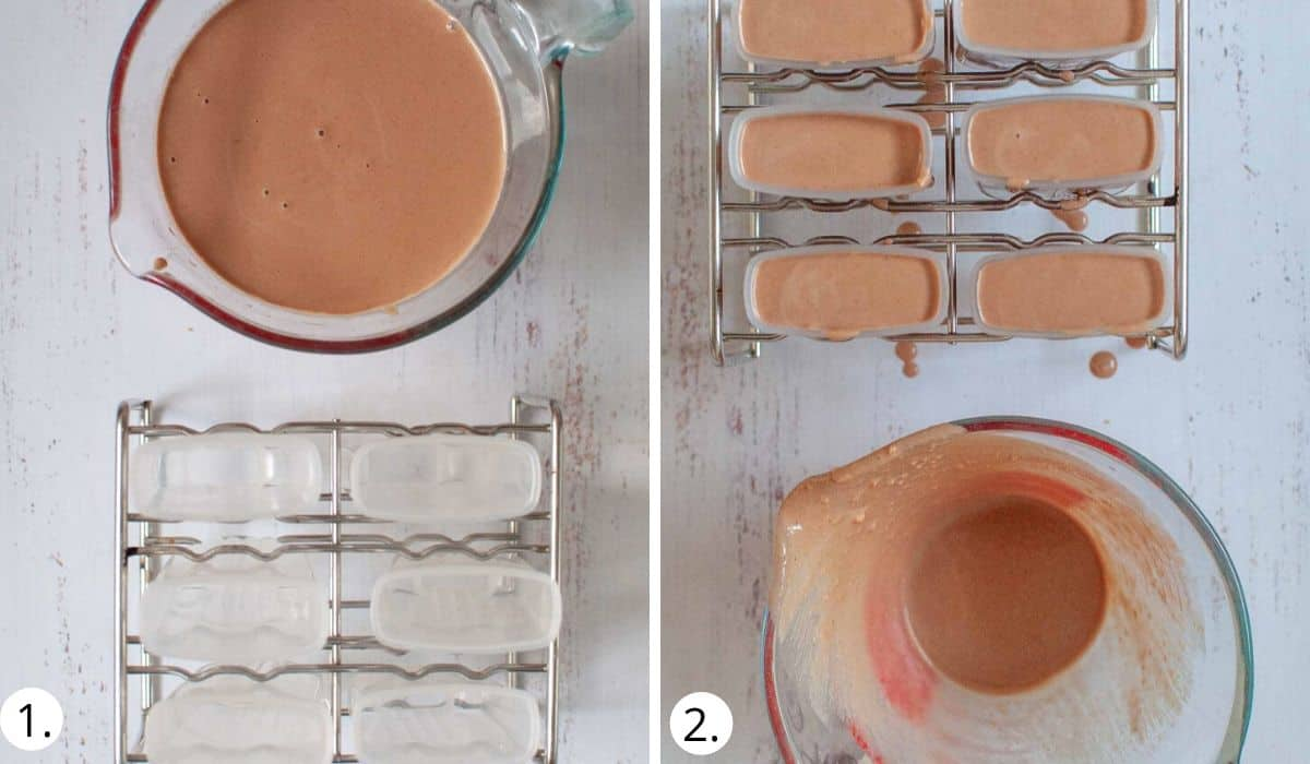 pouring popsicle mixture into moulds