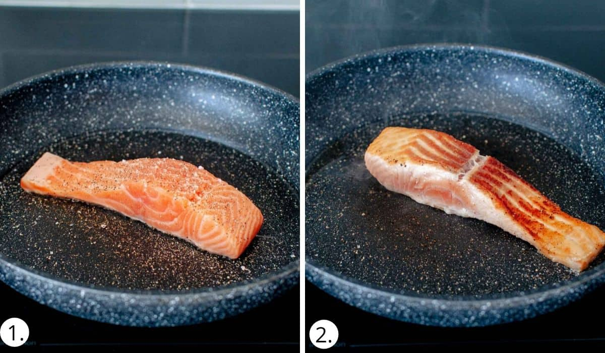 Frying salmon in a non stick pan