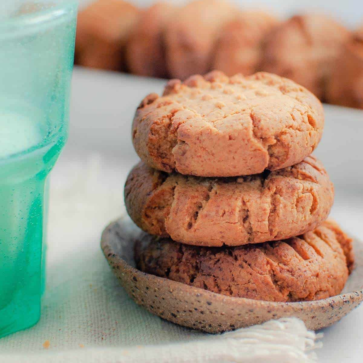 Almond Butter Peanut Butter Cookies stacked