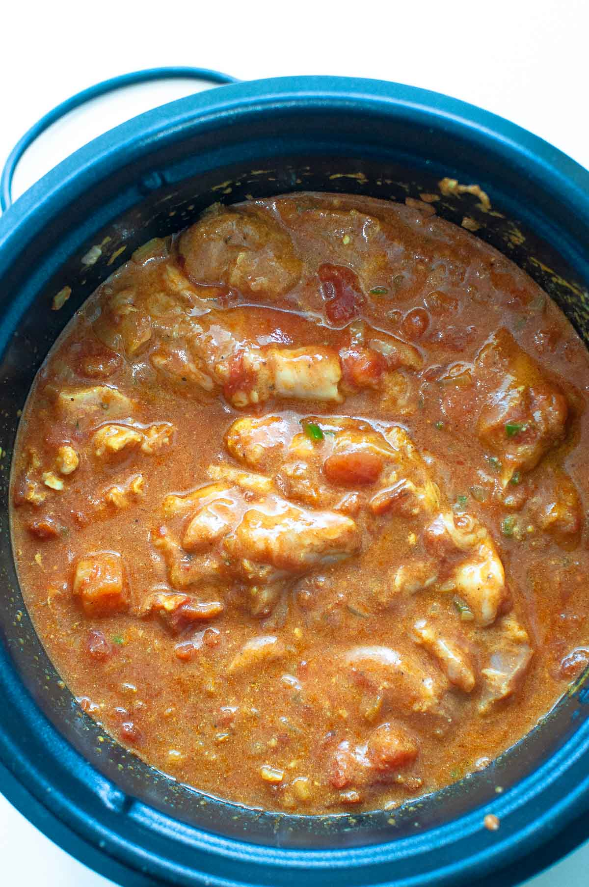 chicken masala in slow cooker ready to cook