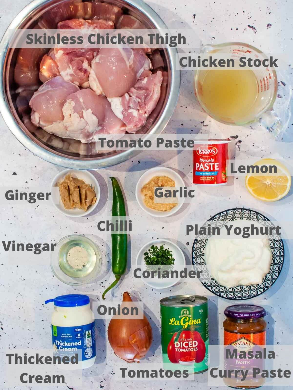 Ingredients for slow cooker chicken masala