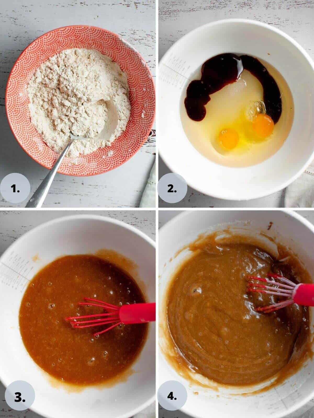 Steps 1 to 4 of making the cake batter