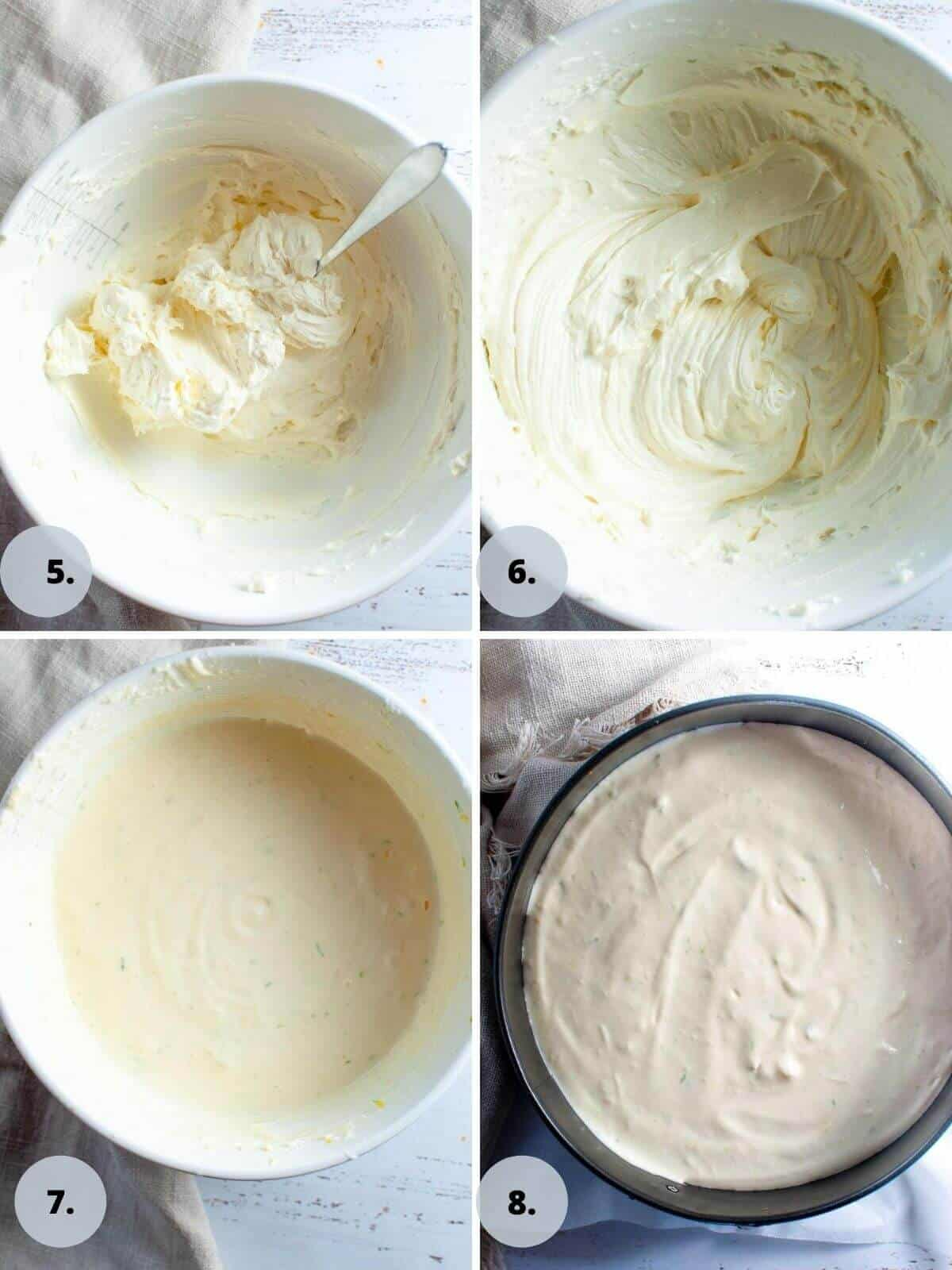 making the cheesecake filling