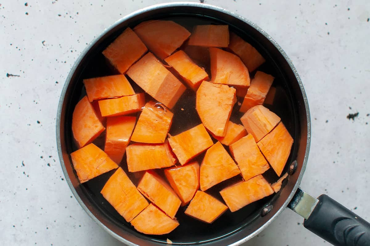 a pot of sweet potatoes