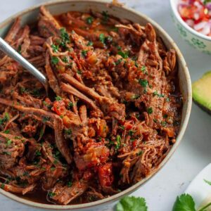 a bowl of shredded beef