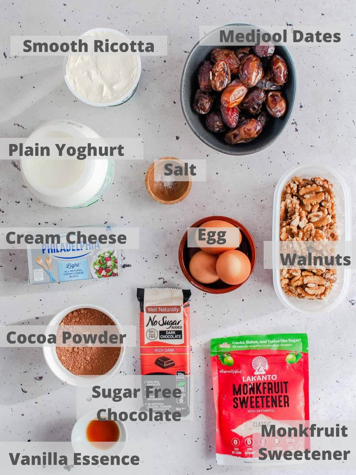 Ingredients for chocolate ricotta cheesecake