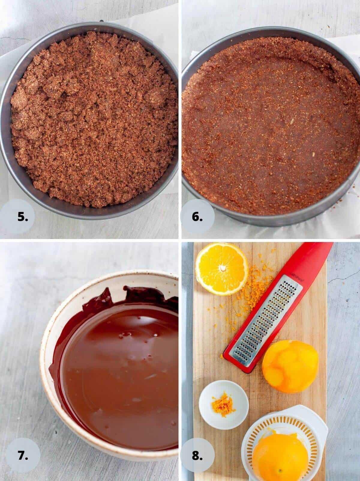 pressing cheesecake base into tin
