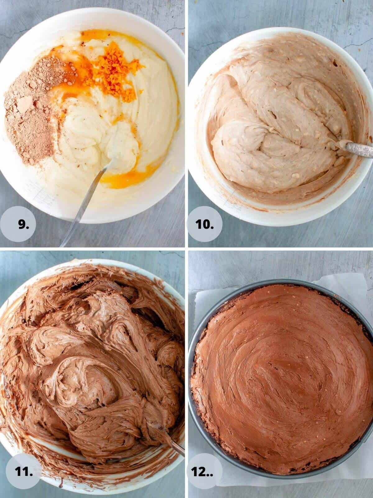 step by step making the cheesecake filling