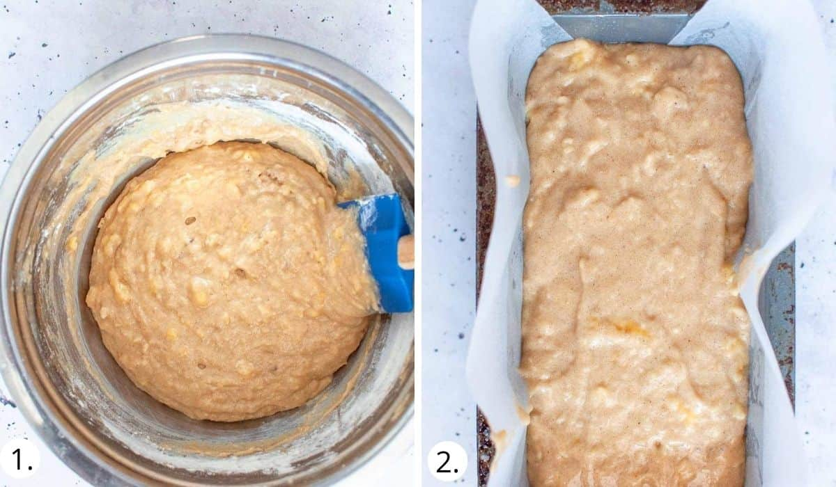 pouring banana bread batter into loaf tin