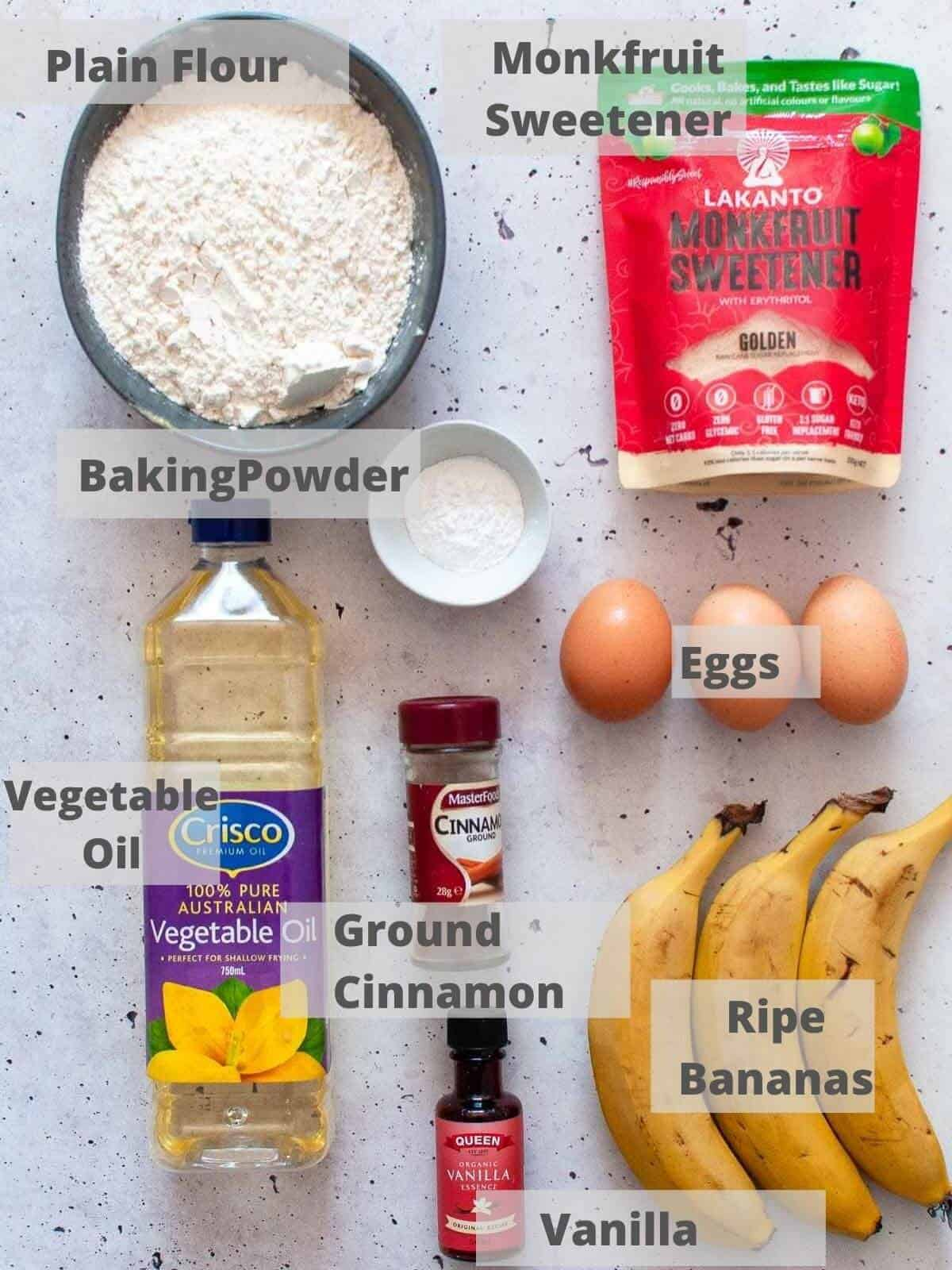 Dairy free banana bread ingredients