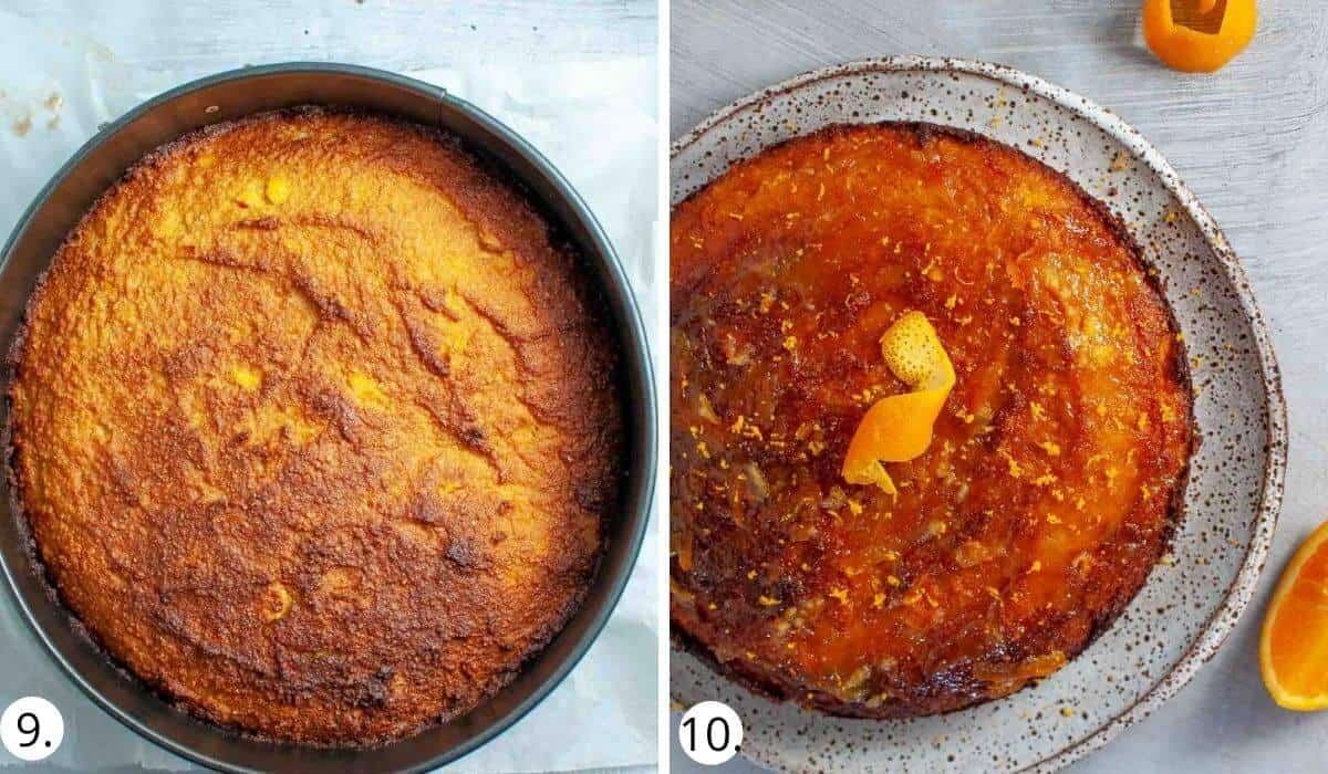 healthy orange cake before and after baking