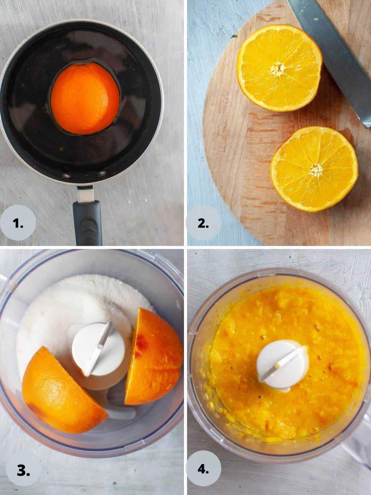cooking and blitzing orange in food processor