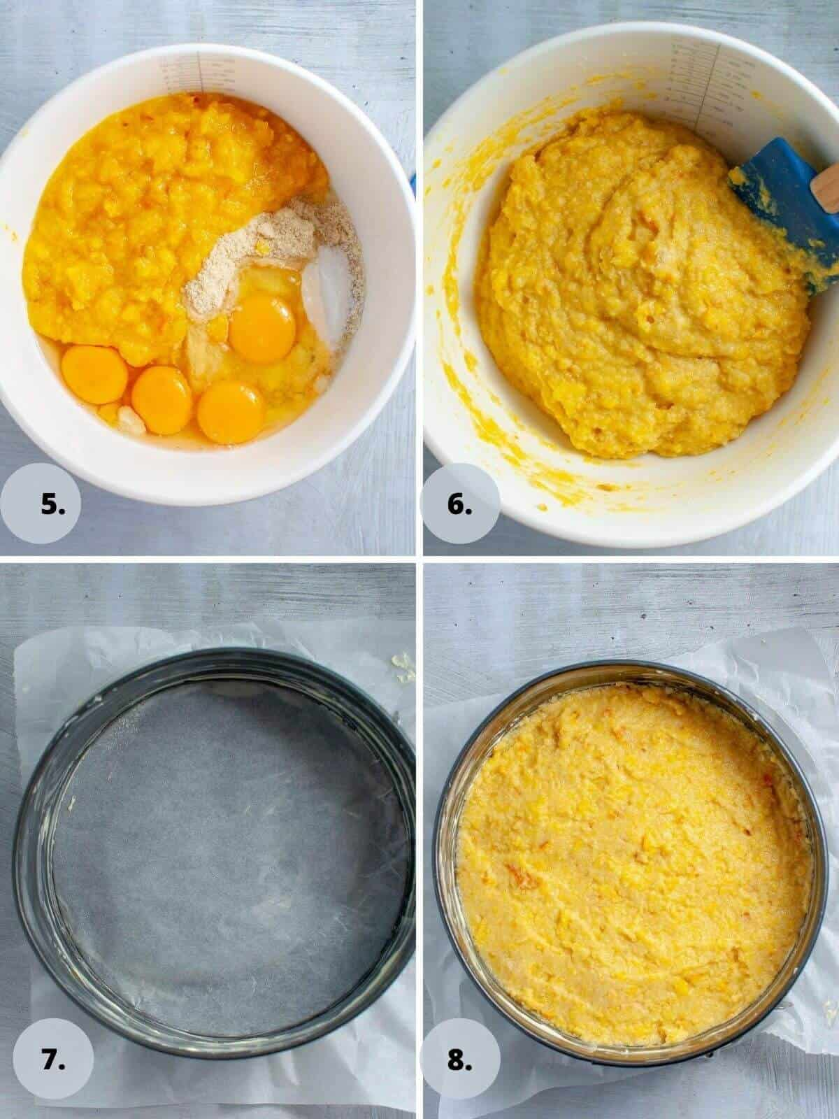 mixing the cake batter for a healthy orange cake