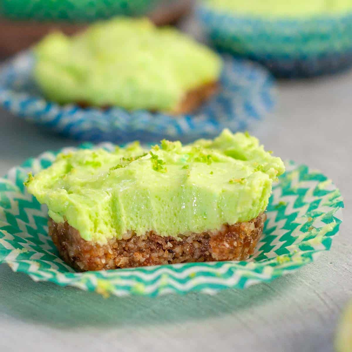 mini lime cheesecake with a bite taken out