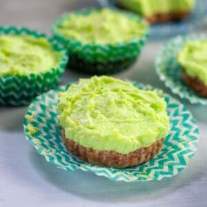 Mini lime jelly cheesecake in a paper wrapper