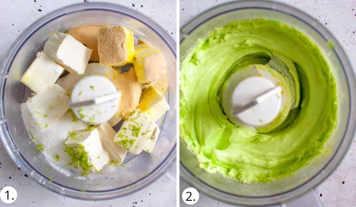 blitzing cheesecake filling ingredients in a food processor