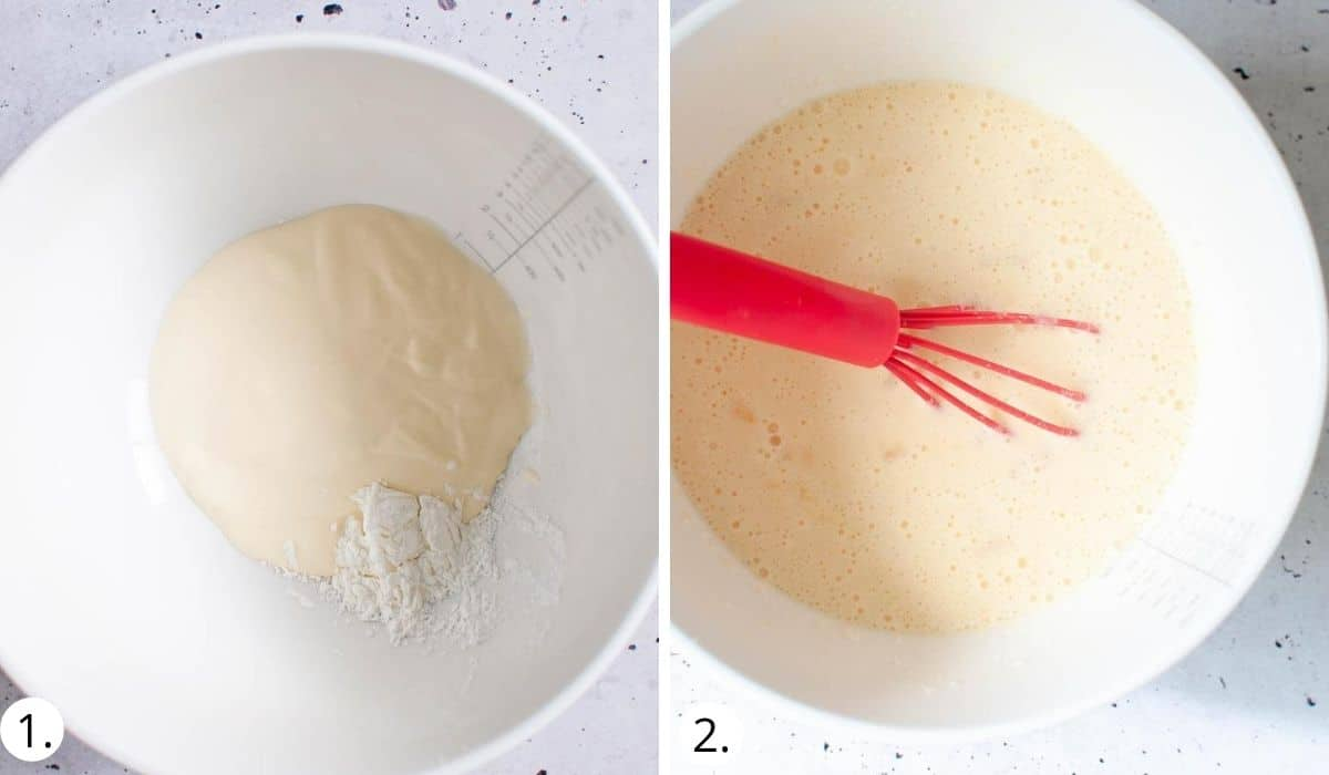 mixing cornflour and cream in a bowl
