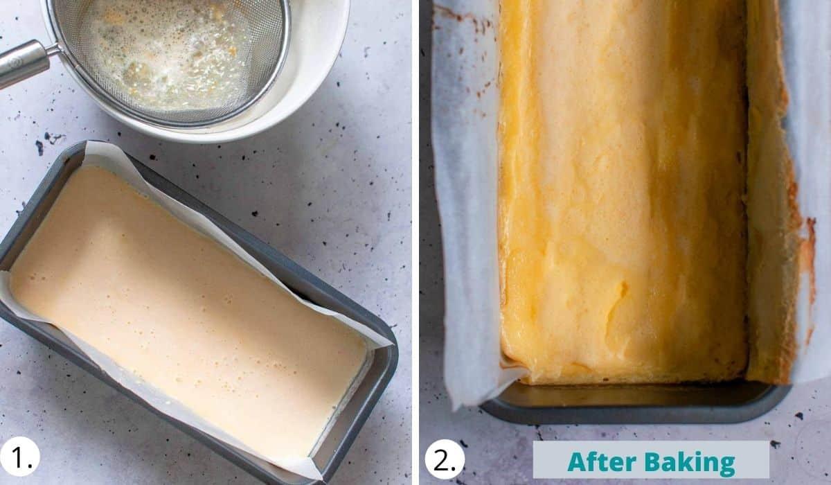 pouring lemon bar filling onto the base