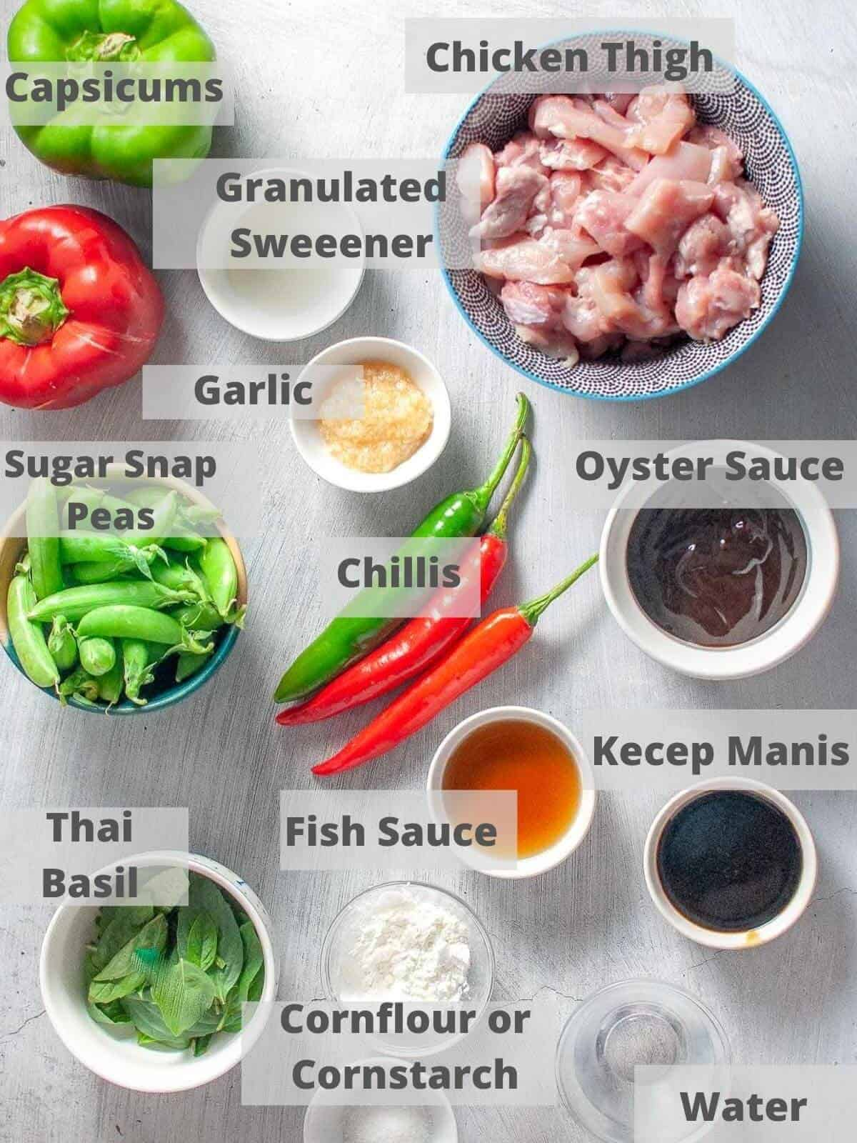 Ingredients for thai basil chicken