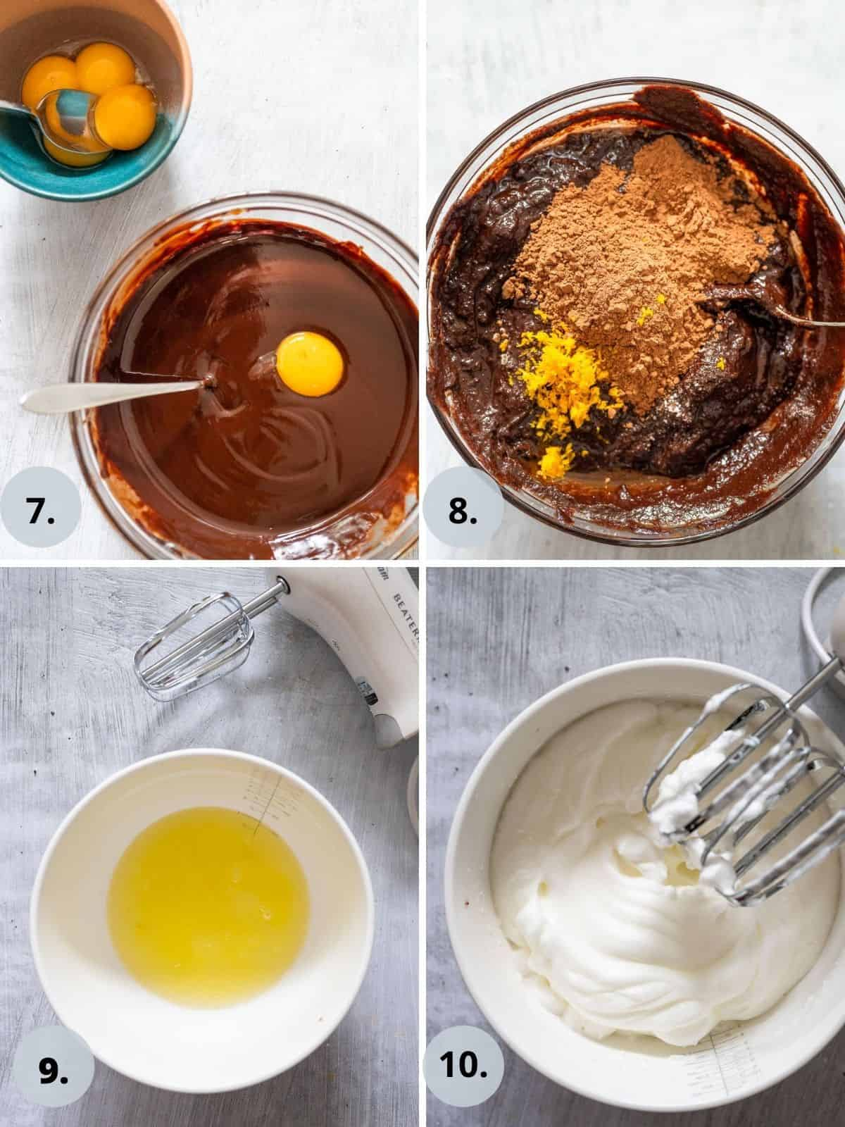 photo collage of 4 steps in the process of makeing a chocolate orange cake