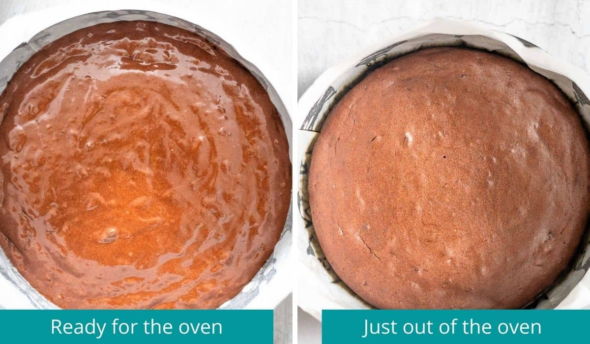 chocolate orange cake, before and after baking