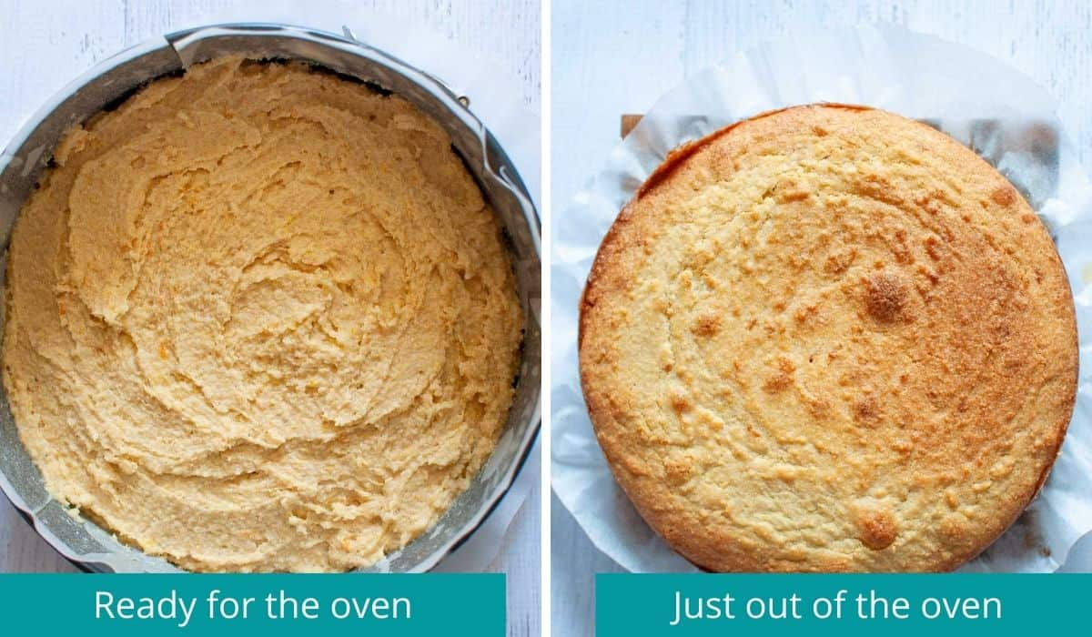 orange polenta cake before and after baking