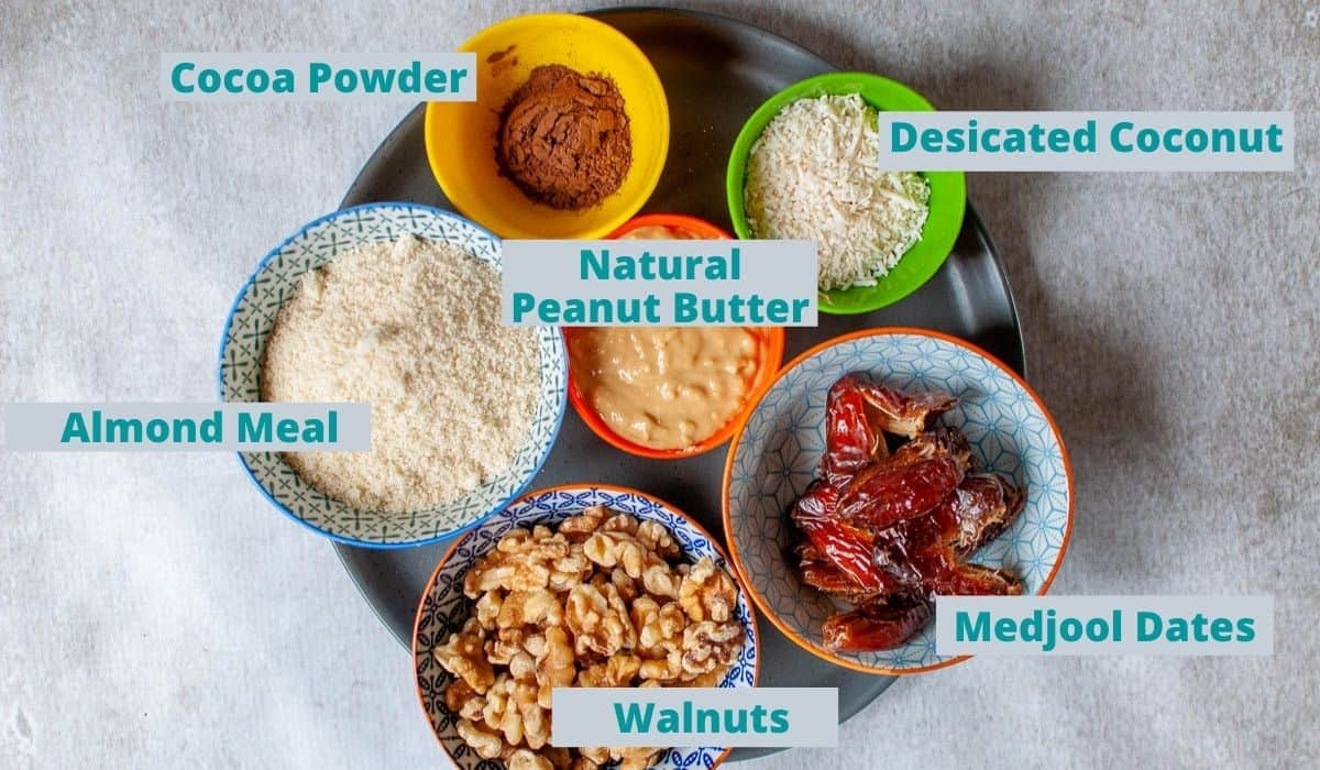 ingredients for peanut butter bliss balls
