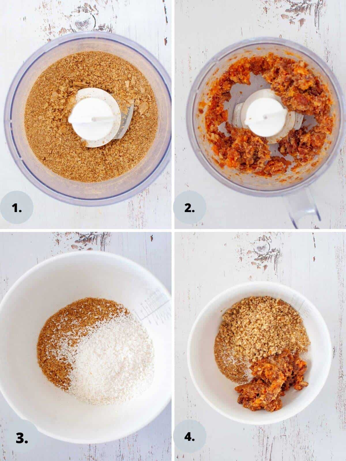 blitzing ingredients in food processor for weetbix slice base