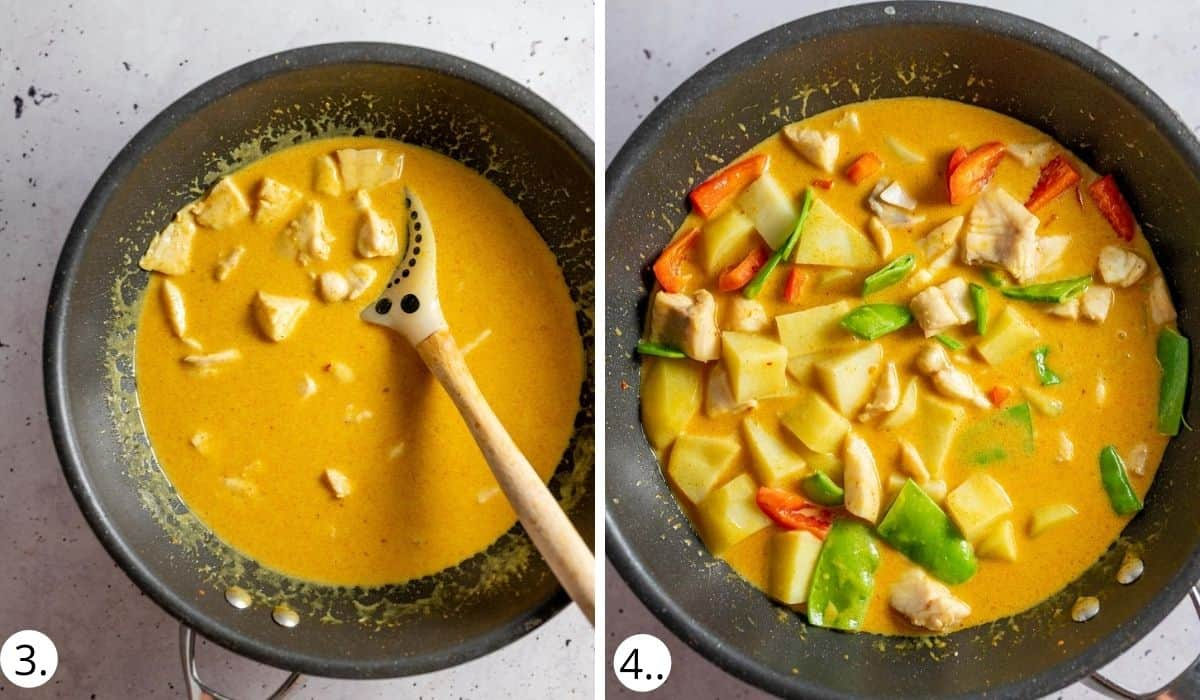 Adding vegetables and fish to wok of curry sauce