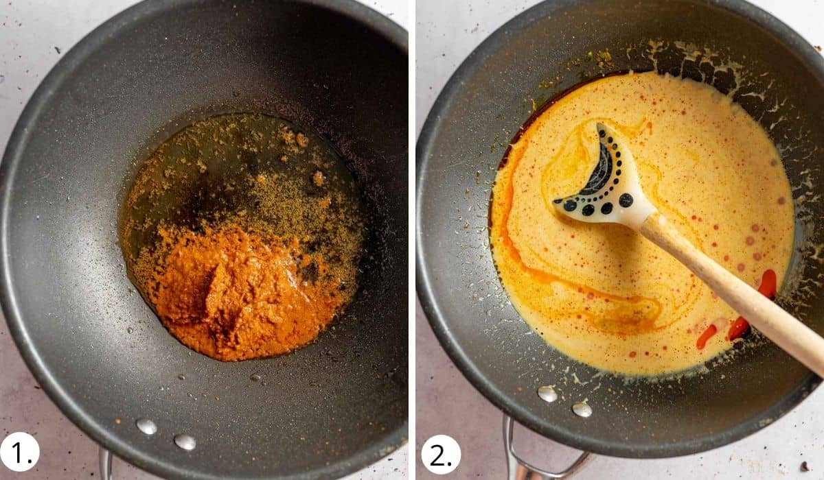 heating curry sauce in a wok
