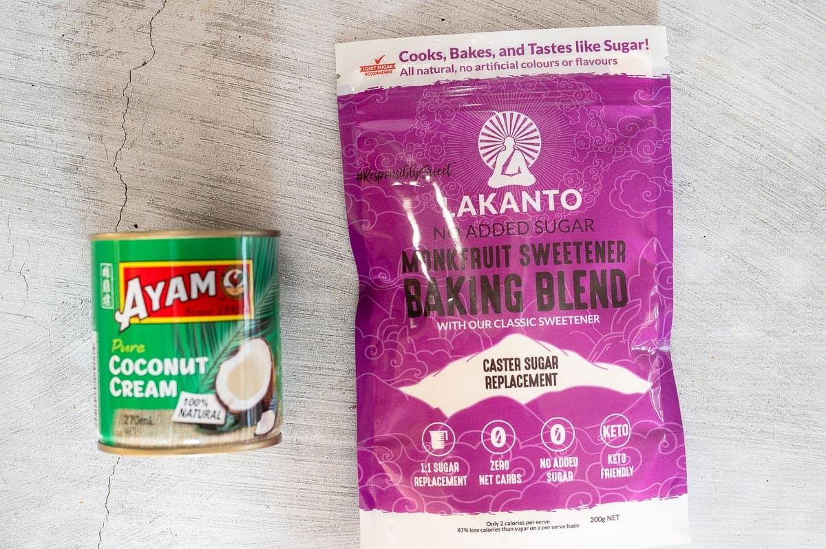 coconut cream and lakanto sweetener