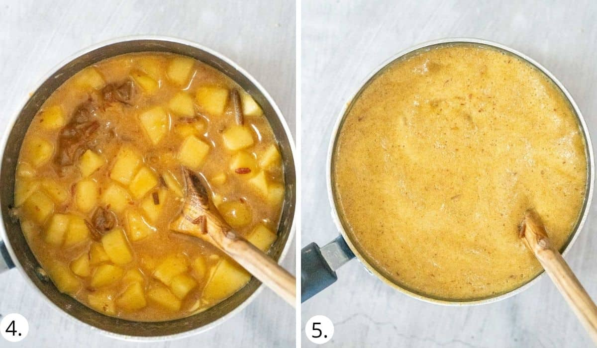 Mixing butter and bicarb soda into dates and apples