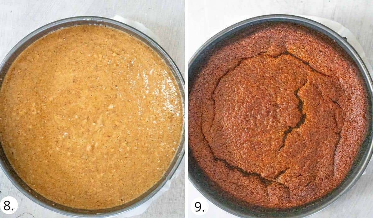 Healthy sticky date cake before and after coming out of oven