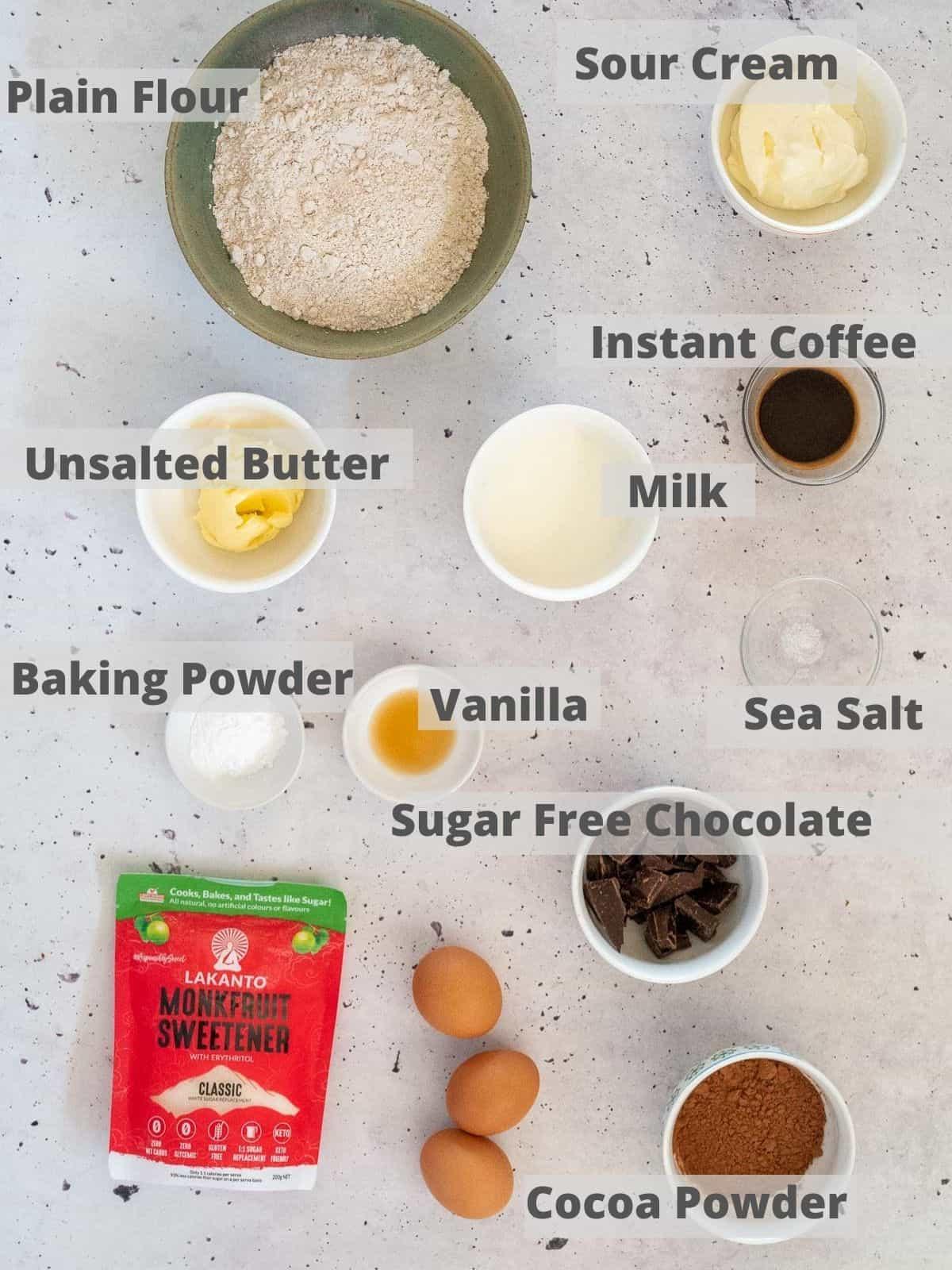 Ingredients for sugar free chocolate cake