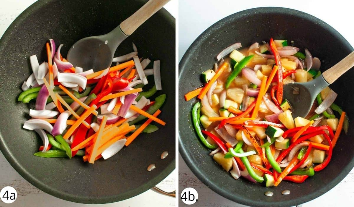 stirfrying veges in the wok
