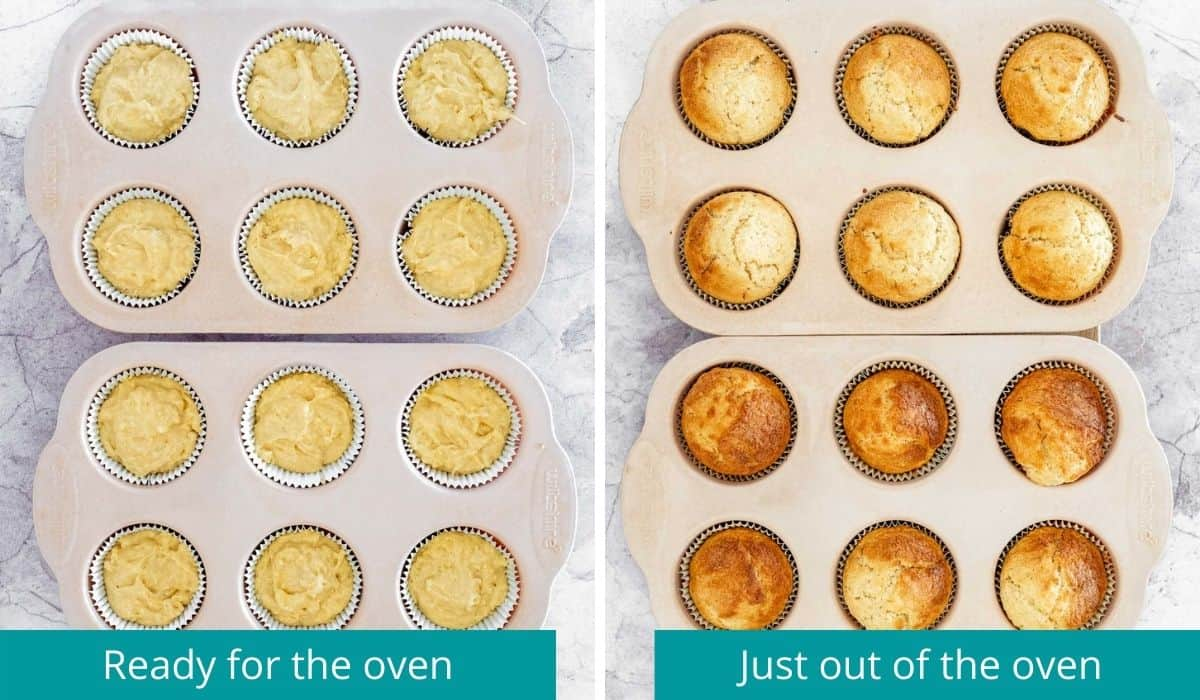 cupcakes before and after baking