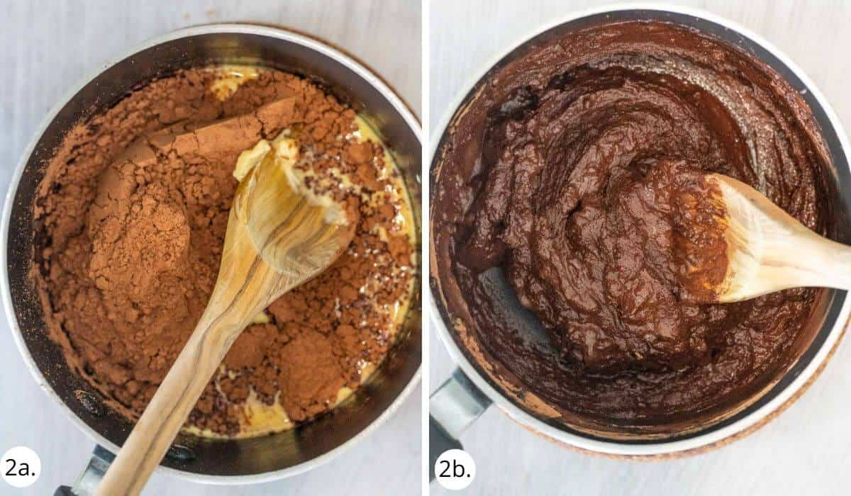 chocolate fudge ingredients in a pot with wooden spoon