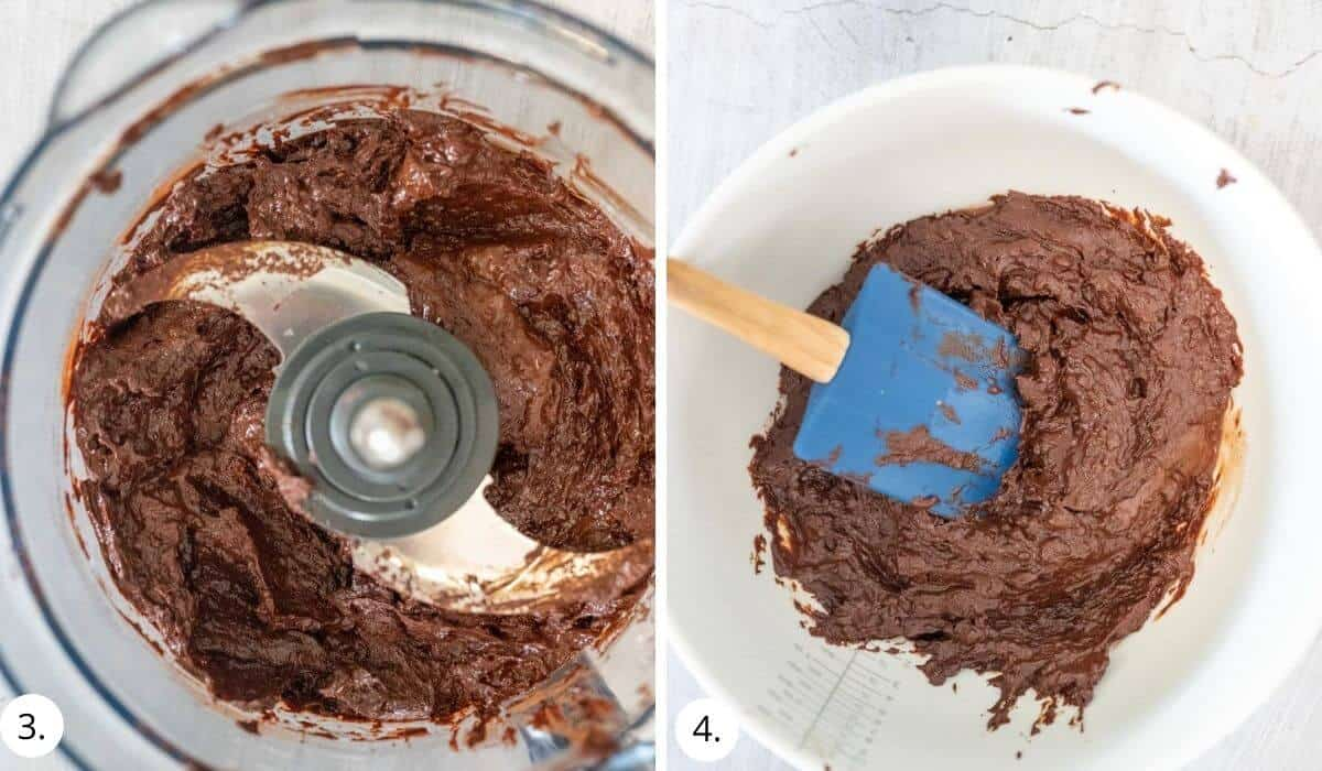 blitzing dates and fudge mixture in a food processor