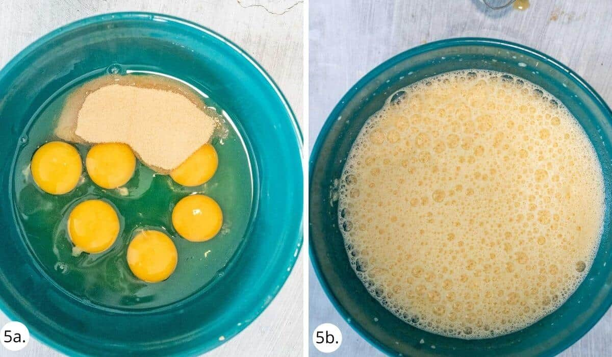 fluffing up eggs and almond meal in a bowl