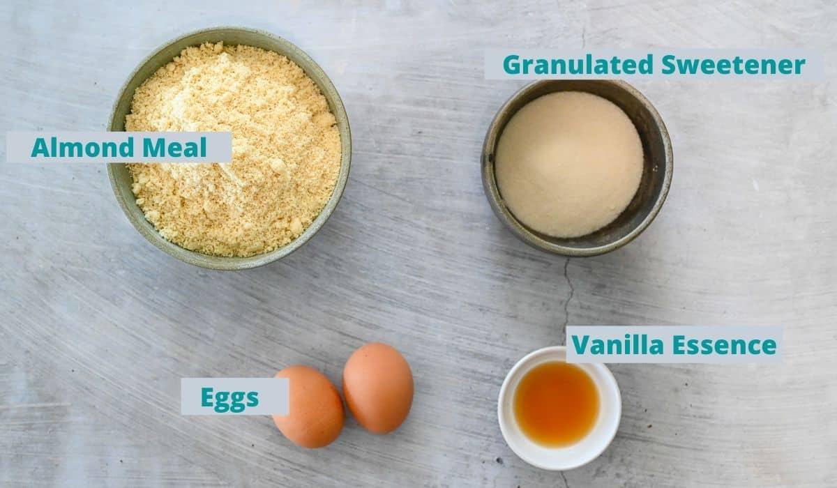 Ingredients for sugar free Amaretti Biscuits