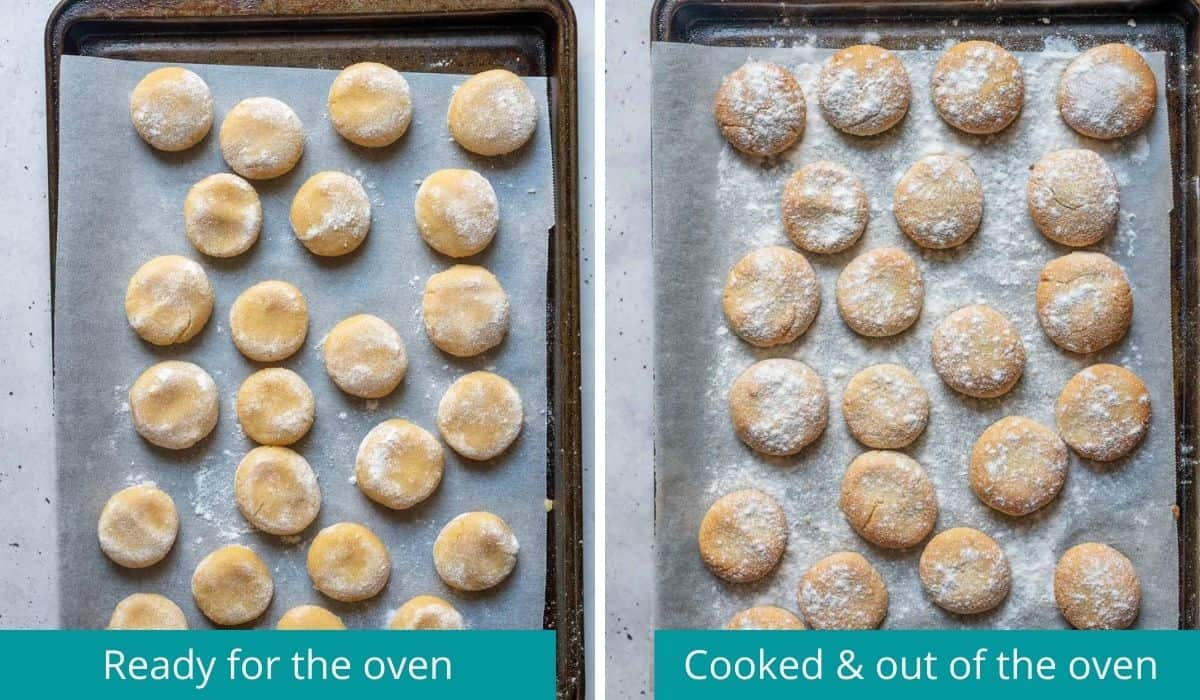 Amaretti biscuits before going into oven and out of the oven