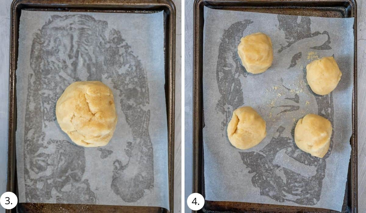 Amaretti biscuit dough rolled into a ball