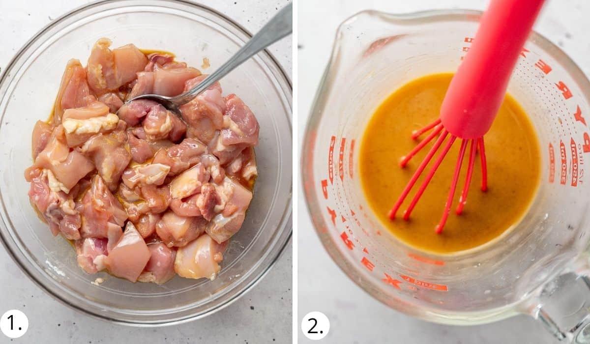 preparing the chicken and sauce for cashew nut chicken