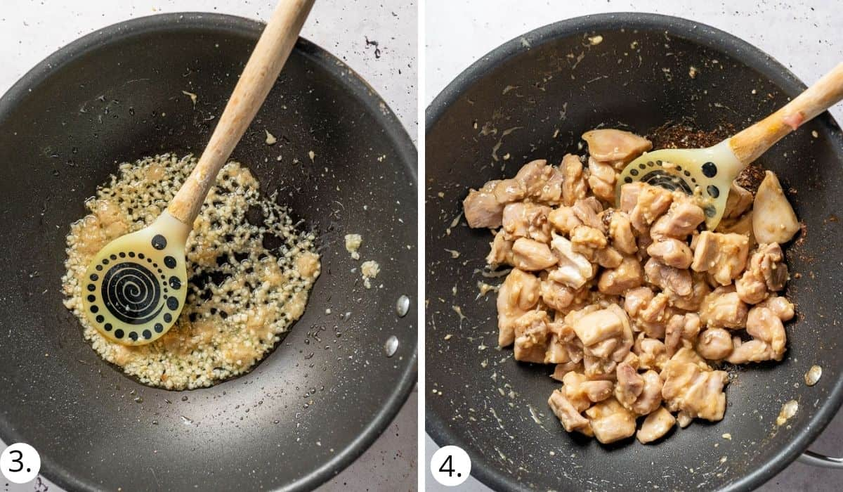 cooking garlic, ginger and chicken in a wok