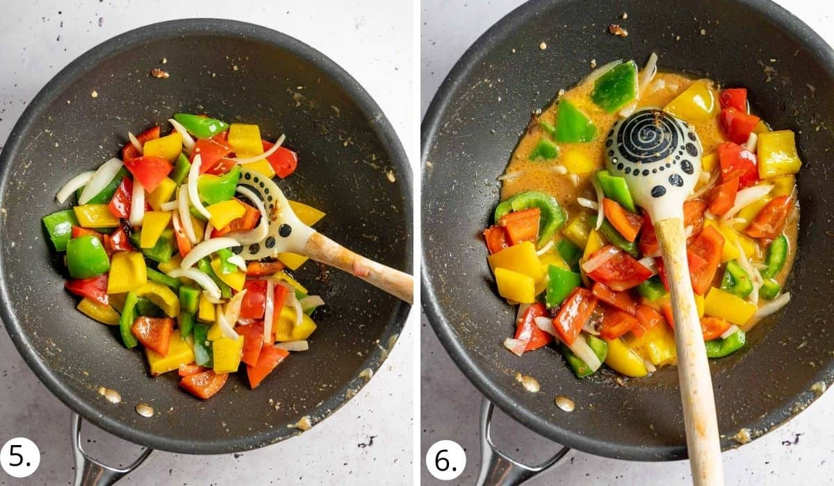 stir frying veges and sauce in a wok