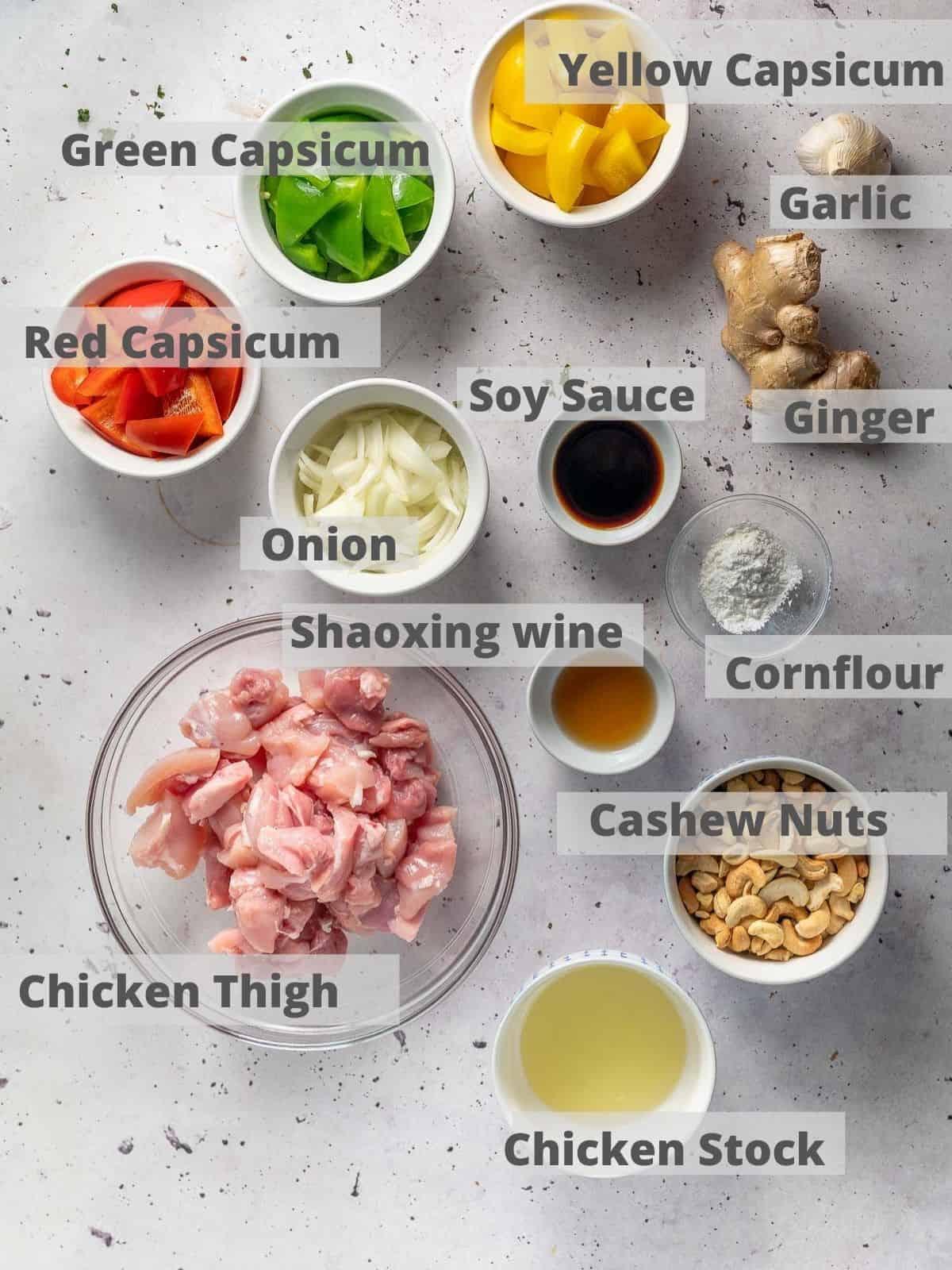 ingredients for cashew nut chicken